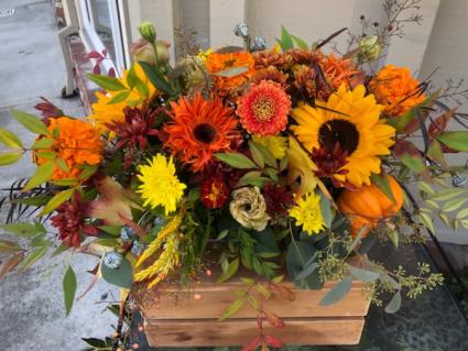 Thanksgiving Centerpiece Long and low floral arrangement