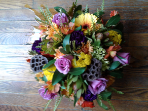 thanksgiving centerpiece suggestion long and low, or square or round in Hingham, MA | HINGHAM SQUARE FLOWERS