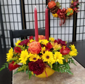 Thanksgiving Centerpiece With Candles Colors of Fall May Vary