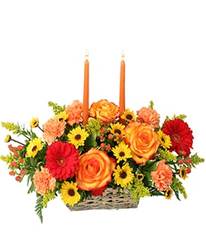 Thanksgiving Dreams Basket of Flowers in Lodi, CA | VILLAGE FLOWERS & GIFTS