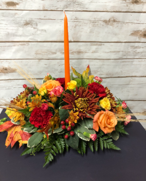 Thanksgiving Long and Low Centerpiece with Candle Arrangement in Weymouth, MA | DIERSCH FLOWERS