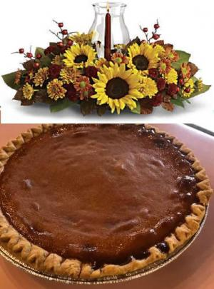 Pumpkin Pie & Centerpiece Thanksgiving Special  in Croton On Hudson, NY | Cooke's Little Shoppe Of Flowers