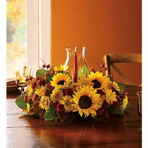 Thanksgiving Sunflower Centerpiece $75.95, $85.95, $105.95 in Universal City, TX | BLOOMINGTONS FLOWER SHOP