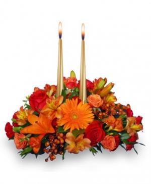 Thanksgiving Unity Centerpiece in Oxford, MA | Ladybug Florist