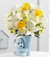 The Baby Boy Big Hug Bouquet BABY BOY MIX with teddy bear