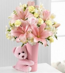 The Baby Girl Big Hug Flower Arrangement