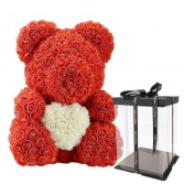 "THE BELLA BEAR HUGGING HEART 14"" TALL RED."
