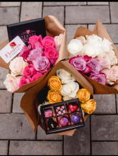 The Bundle  12 roses picked by us and a box of BonBons