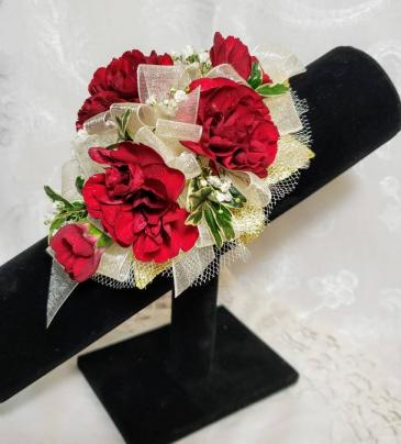 The Camille   Mini Carnations Wrist Corsage