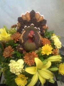 The Cottage Turkey nice resin keepsake with fall flowers in Clio, MI | WILLOW COTTAGE FLOWERS AND GIFTS
