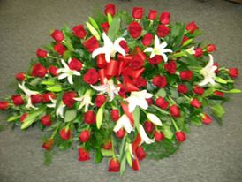 The Crimson Casket Spray Casket Arrangement