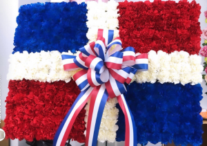 The Dominican Flag Funeral Flowers La Bandera Dominicana Para Funeraria in Bronx, NY | Bella's Flower Shop