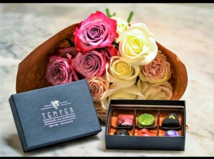 1/2 dozen roses and Bon Bon's