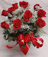 The Duryea's Dozen Dozen Roses with Baby's Breath in a Vase with a Bow