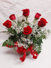 The Duryea's Half Dozen Six Roses with Baby's Breath in a Vase with a Bow