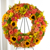 The FTD Autumnal Memories Wreath Standing Spray