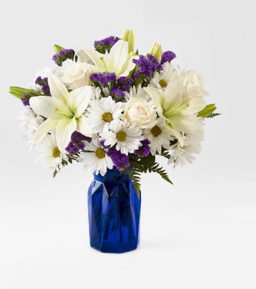 The FTD Beyond Blue Bouquet Vase Arrangement