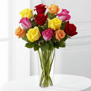 The FTD® Bright Spark™ Rose Bouquet E4-4809 Vase Included