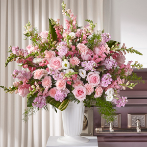The FTD Divine Comfort Arrangement Sympathy Floor Basket