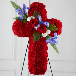 The FTD Faithful Hero Floral Cross Standing Spray