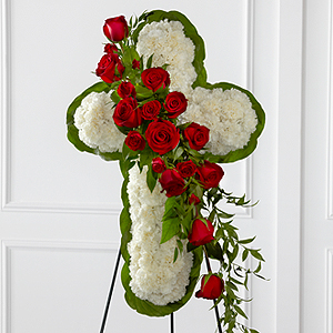 The FTD® Floral Cross Easel Easel Arrangement