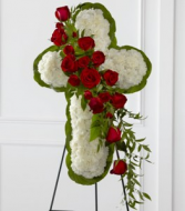 The FTD Floral Cross Easel Standing Spray
