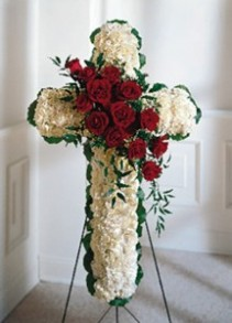 Floral Cross Heart Standing Spray