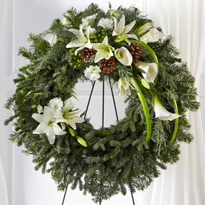 The FTD Greens of Hope Wreath Standing Spray