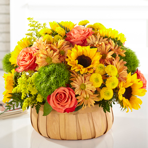 The FTD Harvest Sunflower Basket Basket Arrangement