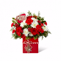 The FTD® Holiday Cheer™ Bouquet Square Ceramic Vase