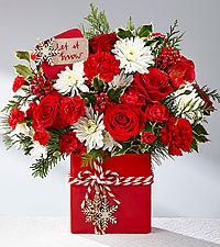 The FTD Holiday Cheer  Mixed Flowers Holiday Colors