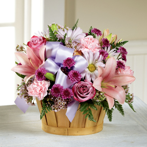The FTD® Little Miss Pink™ Basket Arrangement
