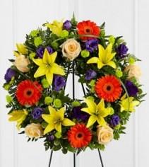 Remembrance™ Wreath FTD Yellow, Purple