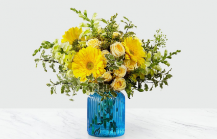 The FTD Something Blue Bouquet Vase Arrangement