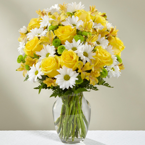 The FTD Sunny Sentiments Bouquet Vase Arrangement
