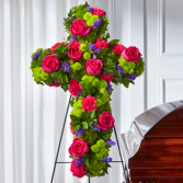 The FTD Tribute Rose Floral Cross Standing Spray