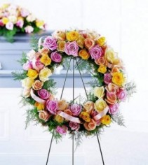 Vibrant Sympathy Wreath Standing Spray