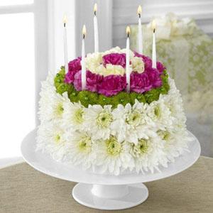 Wonderful Wishes Floral Cake Floral Arrangement