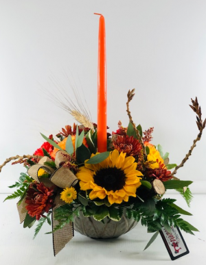 The Gathering Centerpiece  Container Arrangement in North Bend, OR | PETAL TO THE METAL FLOWERS