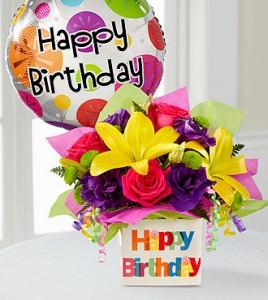 The Happy Birthday Bouquet Flowers and Balloon Arrangement  in Burbank, CA | MY BELLA FLOWER