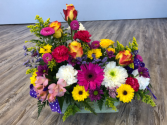 The Joy of Flowers Wooden Box Arrangement
