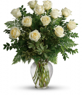 The Joy Of White Roses Dozen Rose Arrangement