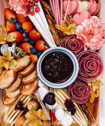The Love Box Chocolate fondue, cheese box and charcuterie