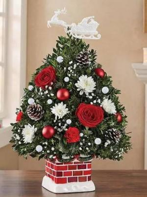 The Night Before Christmas Holiday Flower Tree® Arrangement in Croton On Hudson, NY | Cooke's Little Shoppe Of Flowers