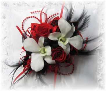 The Passionista (Red, black & White) Prom Wrist Corsage