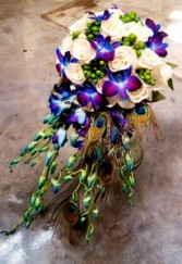 Peacock Bridal Bouquet Wedding Arrangement