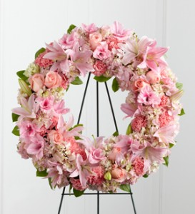 THE PINK SYMPATHY WREATH Funeral Flowers in Vancouver, BC | ARIA FLORIST