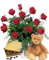 THE ROSE WORKS CHOCOLATE & BEAR INCLUDED