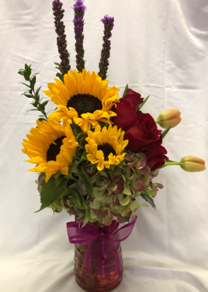 The Sun Flower Spring Vase Arrangement in Decatur, TX | A Ray Of Flowers