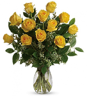 The Sunshine Yellow Dozen Rose Bouquet PFD21V4 Yellow. Available in Standard, Deluxe, Premium
